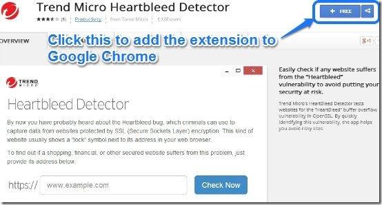 Heartbleed extension homepage webstore
