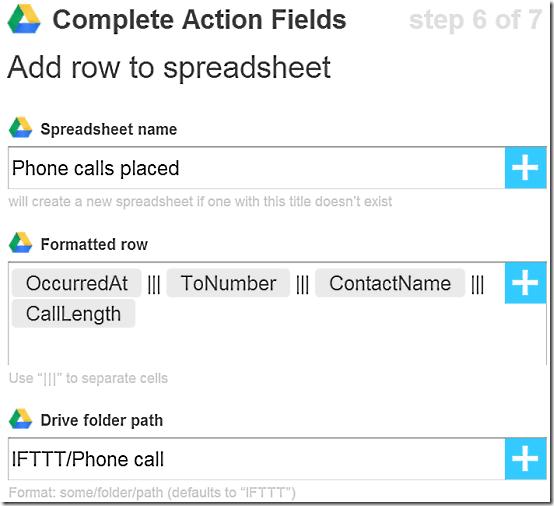 IFTTT Action Fields