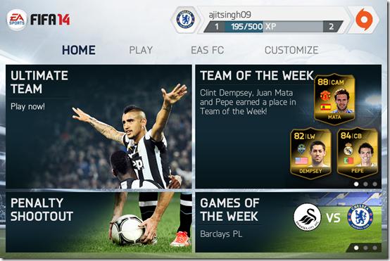 FIFA 14 Home Screen