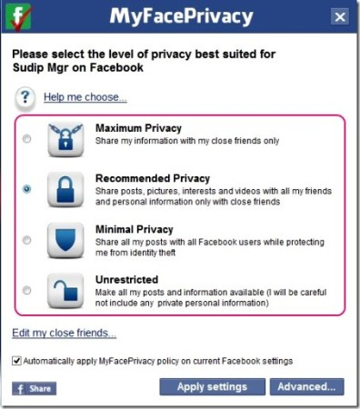 manage privacy settings on social networking websites