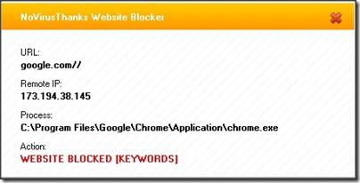 NoVirusThanks Website Blocker popoup