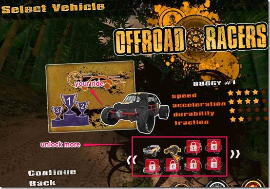 Off Road Racers choose your ride