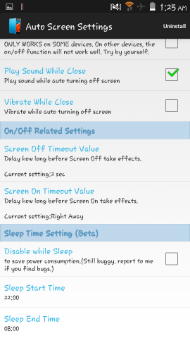 Options in auto screen on off for android