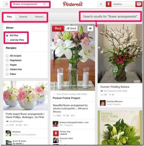 Pinterest Lite-Search option