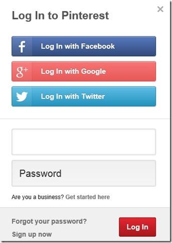 Pinterest Lite- Sign-up Options