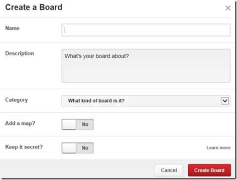 Pinterest Lite-create a board
