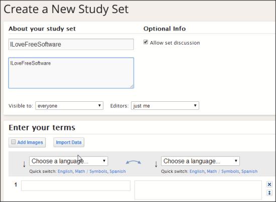 Quixlet Create a Set