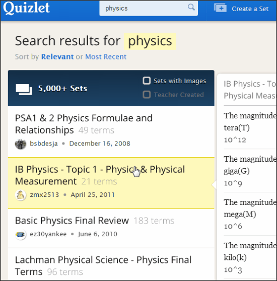 Quixlet Search Result