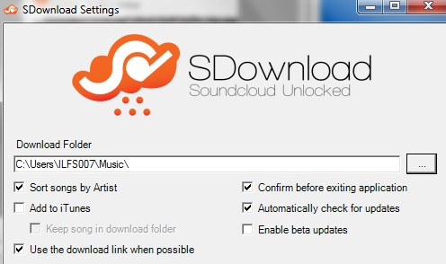 SDownloader settings