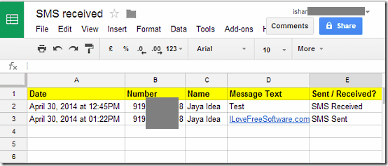 SMS Log in Spreadsheet
