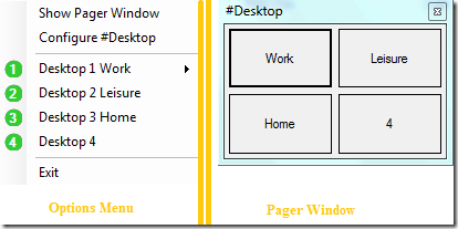 SharpDesktop-Menu and Pager Window