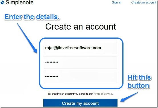 Simplenote account creation