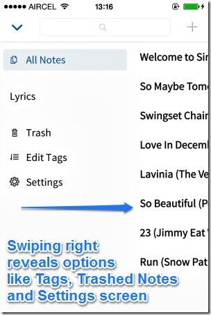 Simplenote iOS right swipe options