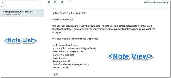 Simplenote web UI