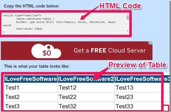 Tableizer HTML code