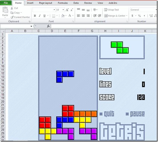 Tetris in Excel