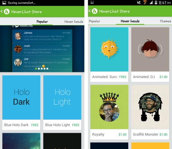 Themes and more in hoverchat for android