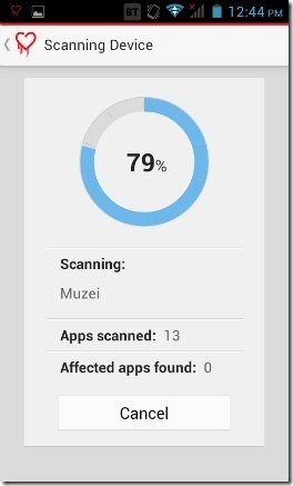 Trend Micro Heartbleed detector Scanning UI