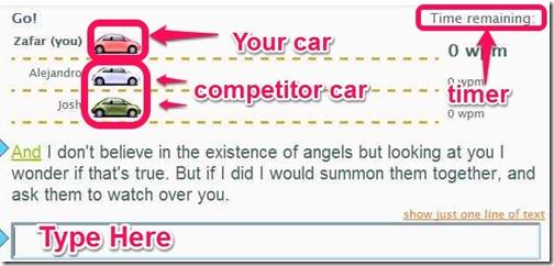 TypingRace Race online