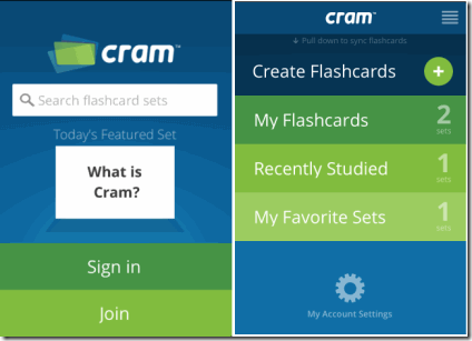 Flashcards with Cram.com Home screen