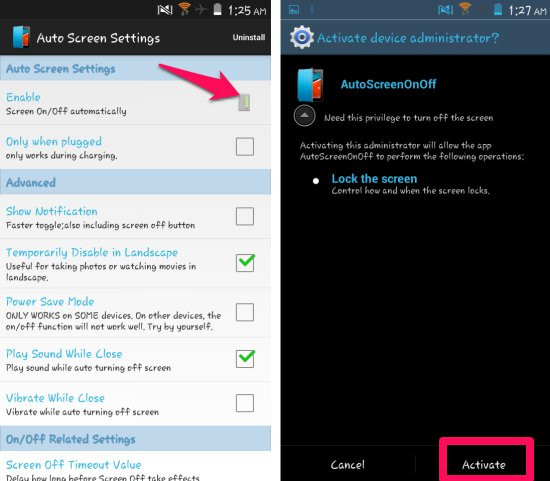 Using Auto Screen On Off for Android
