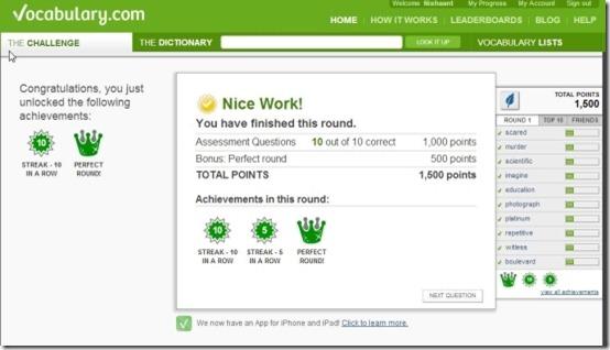 Vocabulary.com round completion