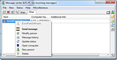 WireNote Messenger center