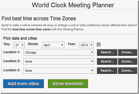 World Clock Meeting Planner