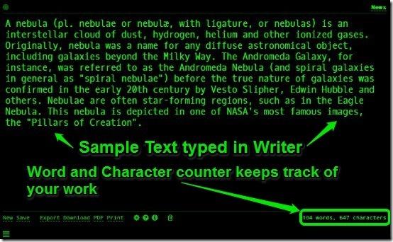 Writer - Sample text