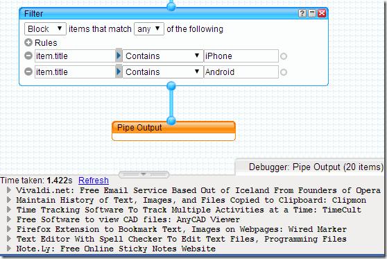 Yahoo Pipes Debugger