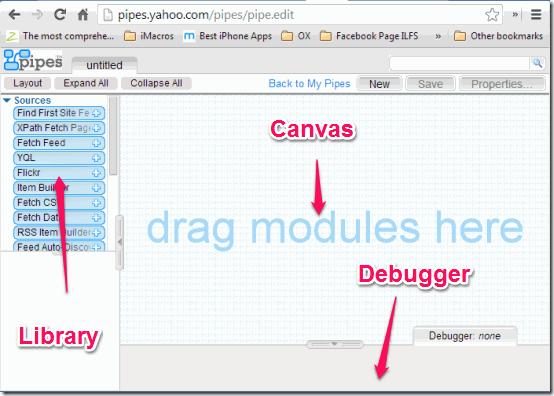 Yahoo Pipes Main Interface