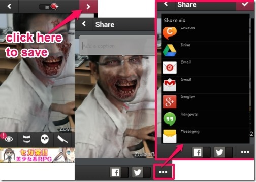 ZombieBooth 2-add caption, save and share