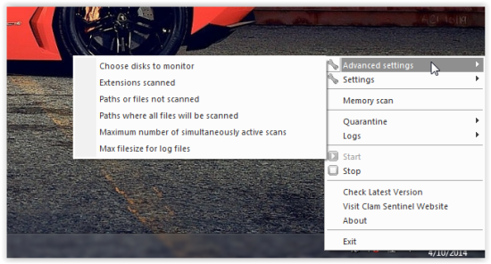 advanced settings in clam sentinel for windows
