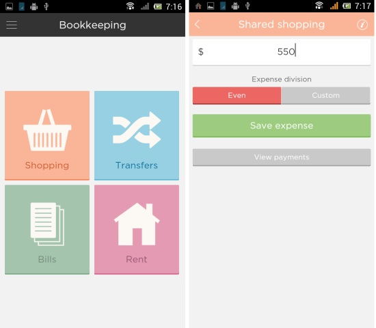 bookkeeping in fairshare for android
