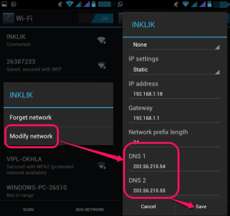 change Android DNS server