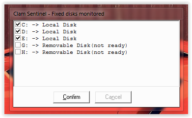 clam sentinel for windows monitering fixed disks