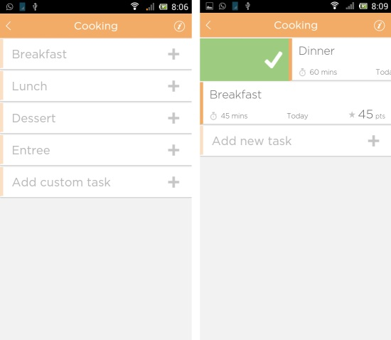 creating tasks in fairshare for android