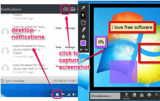 desktop notifications and capture screenshot