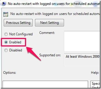 enable No auto-restart feature