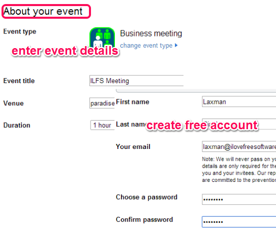enter event details and create account