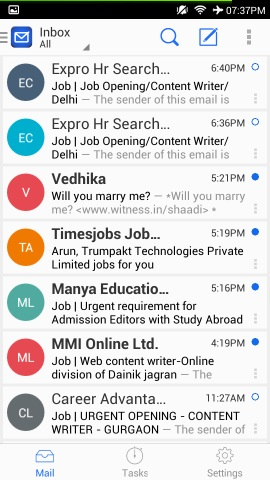 inbox blue mail for android