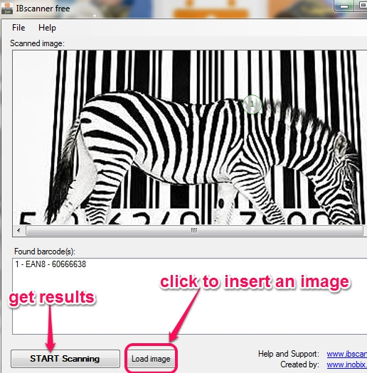 insert a barcode image to get results