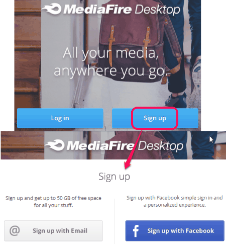 login or sign up to MediaFire