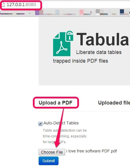 run Tabula and upload a PDF