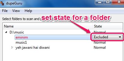 set state for a folder
