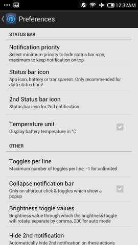 settings in notification toggle for android