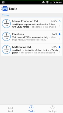 tasks in blue mail for android