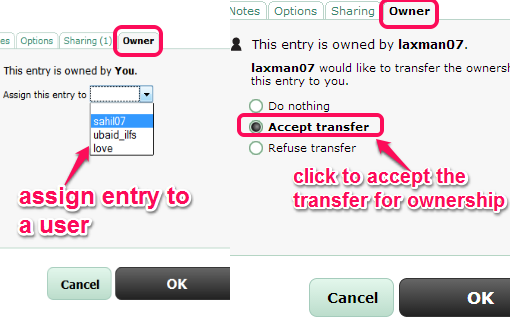 transfer the ownership of an entry