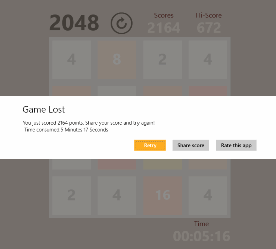 2048- Game result