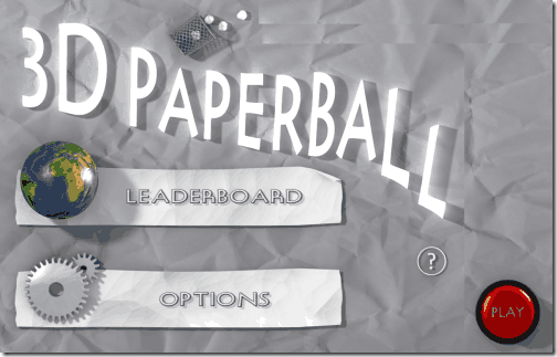 3D Paperball - Home Screen
